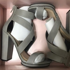 NWT Charlotte Russe Gray Chunky Strappy Heel